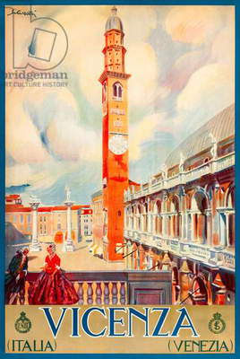 'Vicenza' 1920s Tourism Poster featuring the city's Basilica Palladiana
