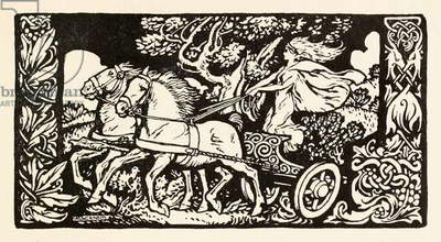 Becfola in her chariot from 'The Wooing of Becfola' in 'Irish Fairy Tales'