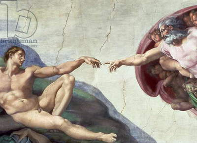 Sistine Chapel Ceiling: Creation of Adam, detail of the outstretched arms, 1510 (fresco) (post restoration)