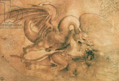 Fight between a Dragon and a Lion (brown ink with wash on paper)