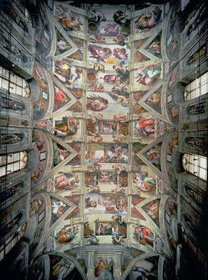 Sistine Chapel Ceiling, 1508-12 (fresco) (post restoration)