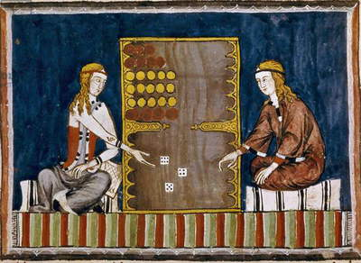 Two Backgammon Players, from the 'Book of Games, Chess, Dice and Boards', 1282 (vellum)