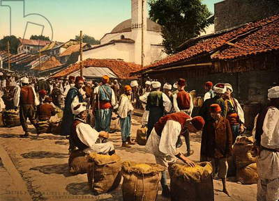 The Weekly Market, Sarajevo during the Austro-Hungarian Empire, c.1900-10 (photo)