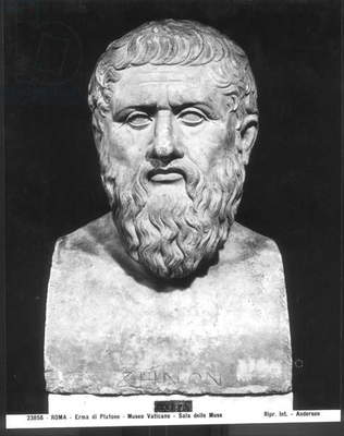Bust of Plato (c.427-347 BC) (stone) (b/w photo)
