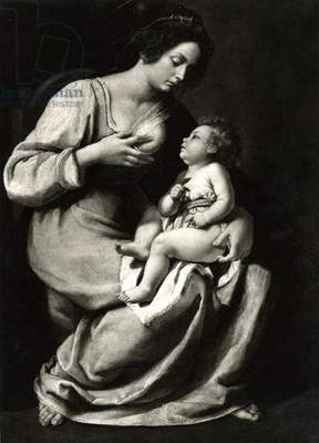Madonna of the Cherries (oil on canvas) (b/w photo)