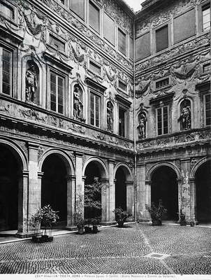 The courtyard of Palazzo Spada in Rome, decorated with stuccoes by Mazzoni