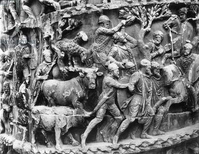 Transport of German prisoners and the spoils of war, detail from the column of Marcus Aurelius (colonna Antonina), 180-196 AD (marble) (b/w photo)