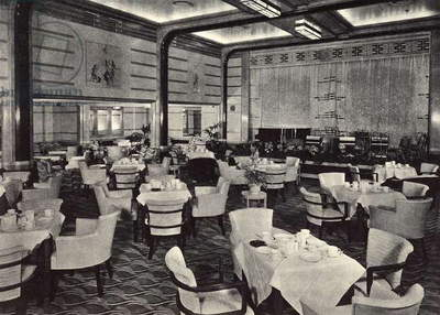 R.M.S. Queen Mary: tourist class dining hall on the main bridge of the transatlantic Queen Mary