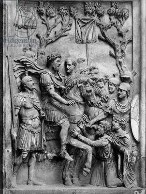 Relief depicting Marcus Aurelius with the subjugated Germans (marble)