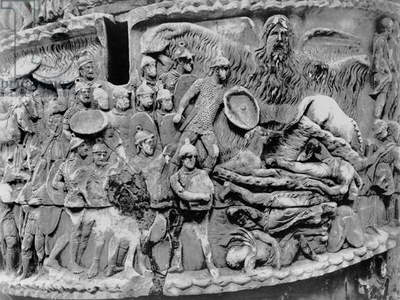 Miraculous Rain, detail from the column of Marcus Aurelius, AD 180-196 (marble) (b/w photo)