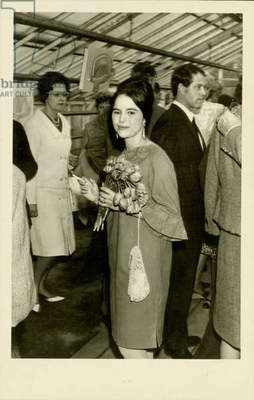 Eva Hesse at her exhibition opening at the home of Isabel and Friedrich Arnhard Scheidt, Kettwig an der Ruhr, Germany, May 15, 1965 (b/w photo)