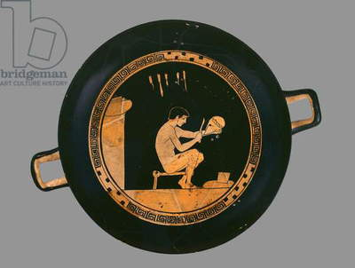 Attic red-figure cup depicting a young helmet-maker, from Orvieto, c.480 BC (ceramic)