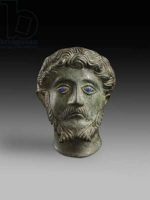 Head of male with inlaid eyes 'Marcus Aurelius' (bronze)