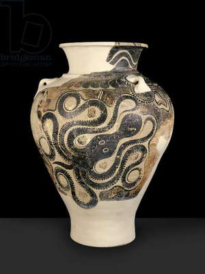 Pithos with octopus design, from Knossos, Crete, late Minoan period II, c.1450-1400 BC (painted earthenware)