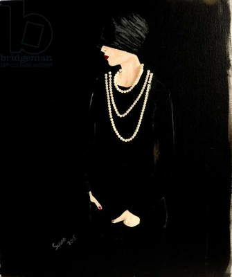 1920s Lady with Pearls(acrylic/collage on canvas)