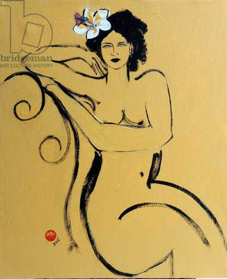Yellow Seated Nude with White Flower and Bird, (acrylic/collage on canvas)