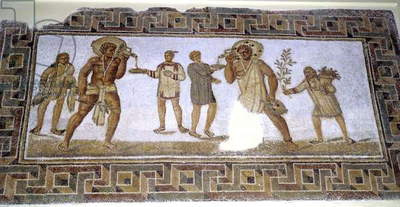 Servants pouring wine for guests at a banquet (mosaic)