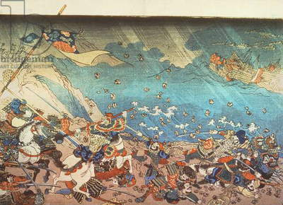 Nichiren summoning the divine Shinpu wind to destroy the Mongol-Chinese fleet attacking Japan in 13th century (engraving)