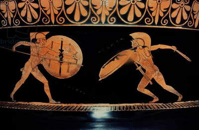 Achilles and Memnon, red-figure krater, found at Cenetarri, 490 BC (ceramic)