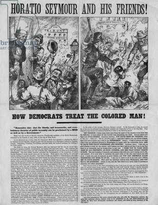 Horatio Seymour and his friends! : How democrats treat the colored man! :