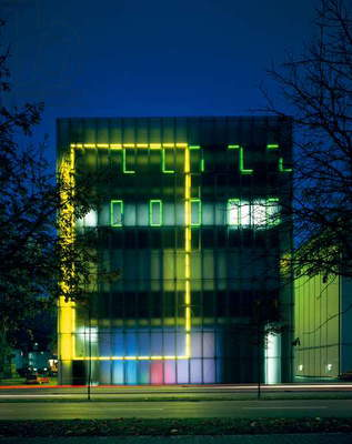 Elevation with neon by light artist Keith Sonnier, Kunsthaus, Bregenz, Austria (photo)