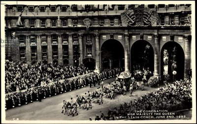 Ak The Coronation, Queen Elizabeth II, State Coach, June 2nd 1953  (b/w photo)
