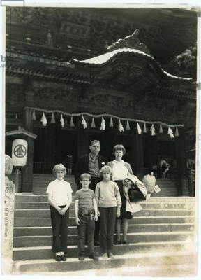 Anne and James Truitt and their children, Tokyo, Japan, c.1964 (b/w photo)