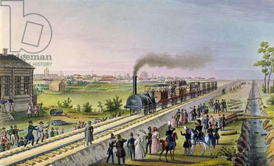 Opening of the First Railway Line from Tsarskoe Selo to Pavlovsk in 1837 (w/c on paper)