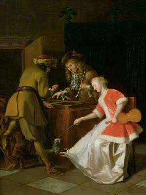 Tric-trac Players with a Lady and Her Dog (oil on canvas)
