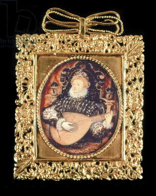 Queen Elizabeth I playing the lute (w/c on paper) (see also 3912)