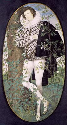 A Young Man Leaning Against a Tree Among Roses (bodycolour on vellum)