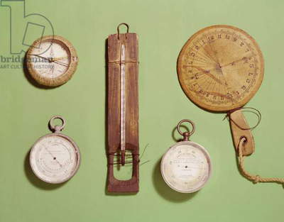 Scott's compass, thermometer, sundial, barometer and altitude scale used on Antarctic expedition, 1910-12