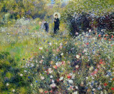 Woman with a Parasol in a garden, 1875 (oil on canvas)