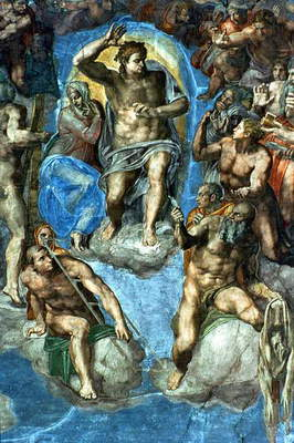 Christ, detail from 'The Last Judgement', in the Sistine Chapel, 16th century with self-portrait of Michelangelo as Saint Bartholomew holding flayed skin (fresco)