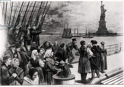 New York - Welcome to the land of freedom - An ocean steamer passing the Statue of Liberty - scene on the steerage deck, illustration from 'Frank Leslie's Illustrated Newspaper', July 2nd 1887 (engraving) (b&w photo)