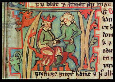 Harald I Fairhair (c.890-c.946) greeting Guthrum (d.890) from the 'Flateybok', c.1390 (vellum)