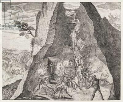 Quaint Picture of the Toilers in the Mines of Potosi, from Gottfried's 'Historia Antipodum', pub. in 1655, from 'The Romance of the River Plate', Vol. I, by W. H. Koebel, 1914 (engraving)