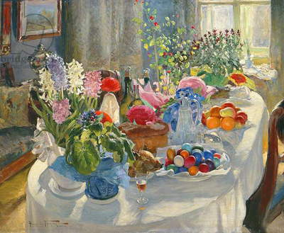 Easter Table (oil on canvas)