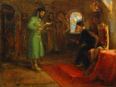 Boris Godunov with Ivan the Terrible (oil on canvas)