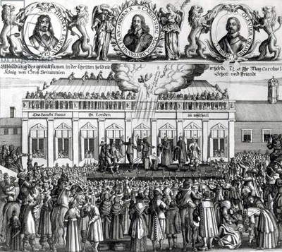 The Beheading of King Charles I (1600-49) 1649 (engraving) (b/w photo)