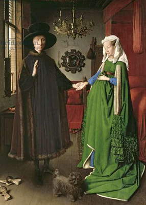 The Portrait of Giovanni (?) Arnolfini and his Wife Giovanna Cenami (?) (The Arnolfini Marriage) 1434 (oil on panel)