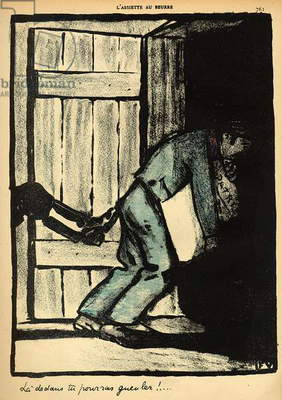 A man caught putting up political posters is thrown in prison, from 'Crimes and Punishments', special edition of 'L'Assiette au Beurre', 1st March 1902 (colour litho)