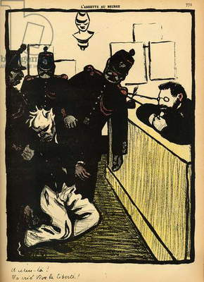 Three policemen bring a man beaten black and blue into the police station, from 'Crimes and Punishments', special edition of 'L'Assiette au Beurre', 1st March 1902 (colour litho)