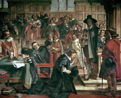 Attempted arrest of 5 members of the House of Commons by Charles I, 1642, 1856-66 (fresco)