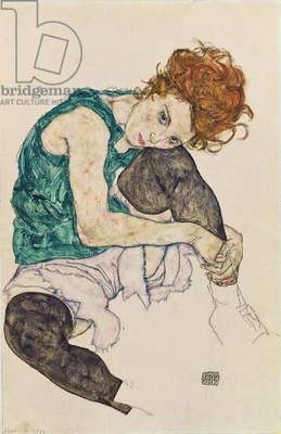 Seated Woman with Bent Knee, 1917 (gouache, w/c and black crayon on paper)
