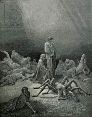Virgil (70-19 BC) and Dante looking at the spider woman, illustration from 'The Divine Comedy' (Inferno) by Dante Alighieri (1265-1321) Paris, published 1885 (engraving) (b/w photo)