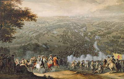The Battle of Poltava, engraved by one of the Nicolas Larmessin family, 1709 (coloured engraving)
