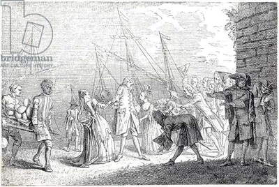 The landing in England of Senesino, 1719 (engraving)