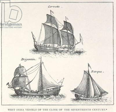 'A Corvette, a Brigantin and a Barque', from West India Vessels of the Close of the Seventeenth Century (engraving)
