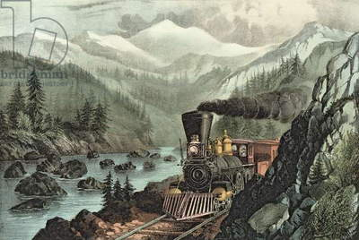 The Route to California.  Truckee River, Sierra Nevada.  Central Pacific railway, 1871 (litho)